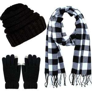 Winter Warm knit Scarf Beanie Set: Unisex